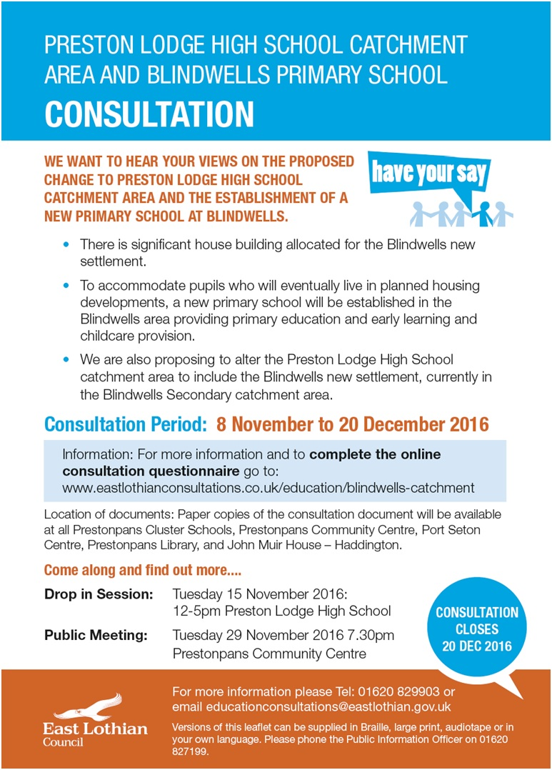 Preston Lodge High School Catchment Area And Blindwells Primary