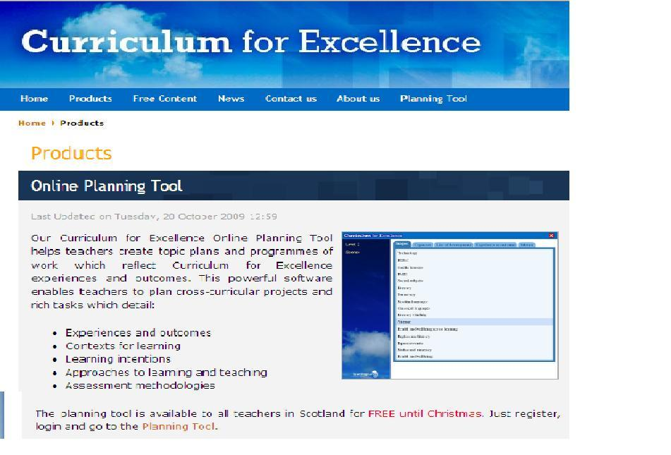 Online planning tool curriculum for excellence in east for Online planning tool