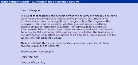 Progress of Curriculum for Excellence