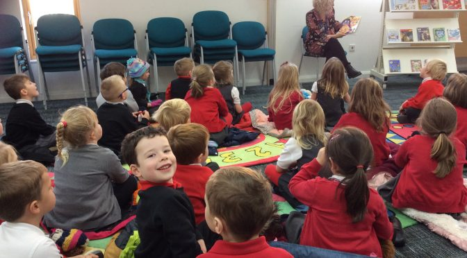 P1A and P1B visit the library.