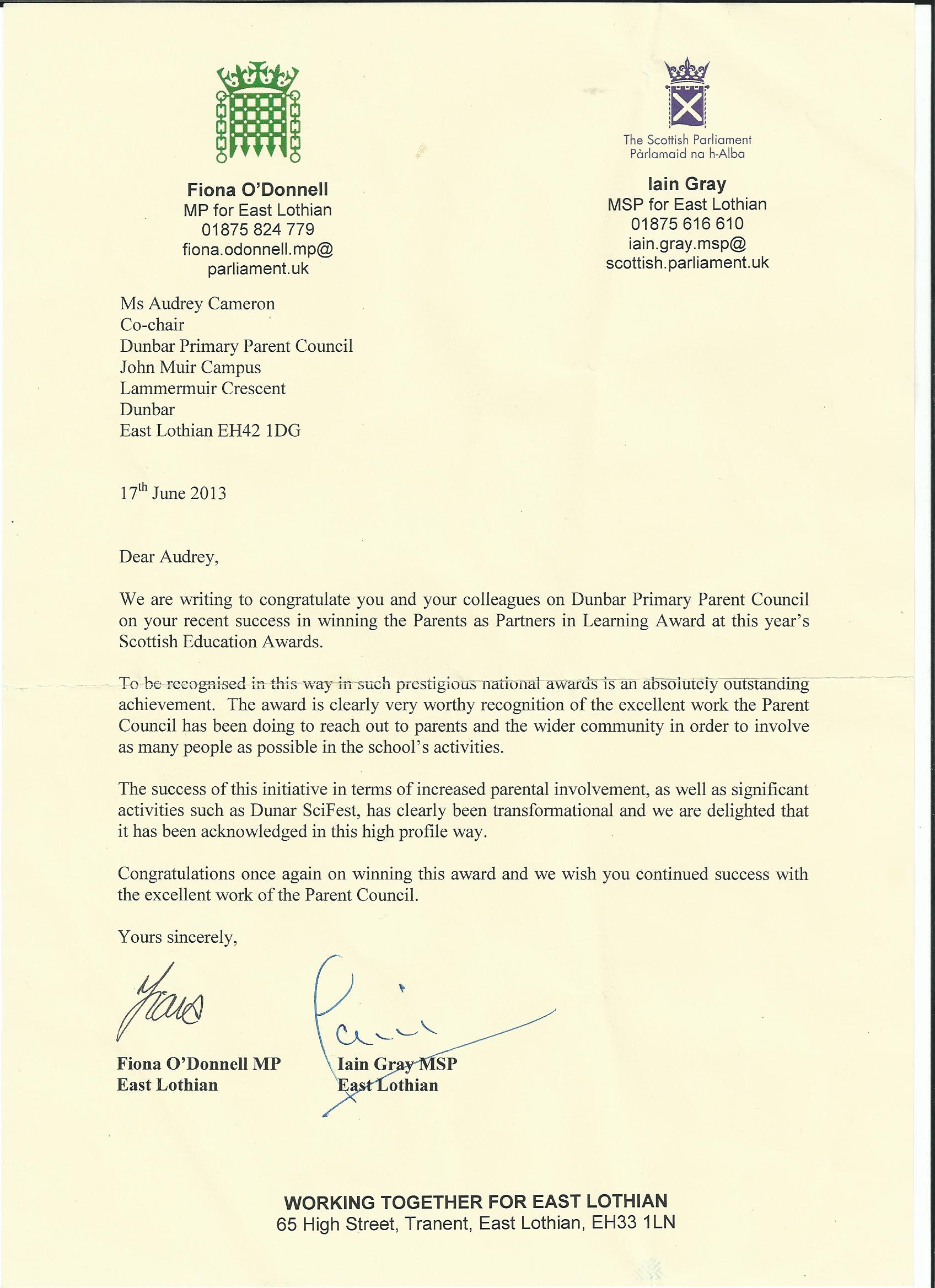 A Letter Of Congratulations From Our Mp And Msp Dunbar