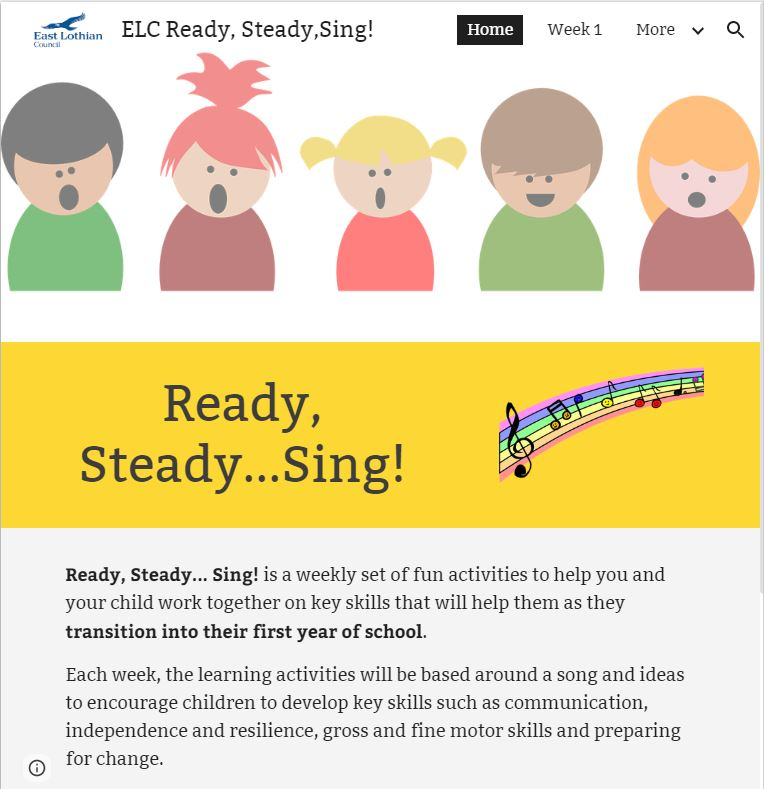 Ready Steady Sing! web site home page screenshot