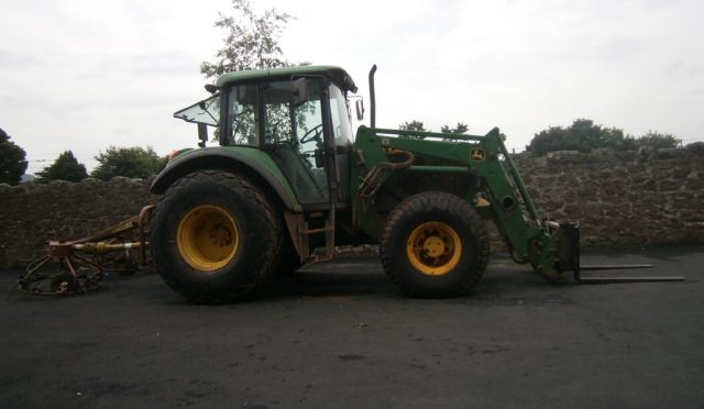 James Cunningham and Tommy Penny bring a tractor to school and tell P4 more about farming in East Lothian.