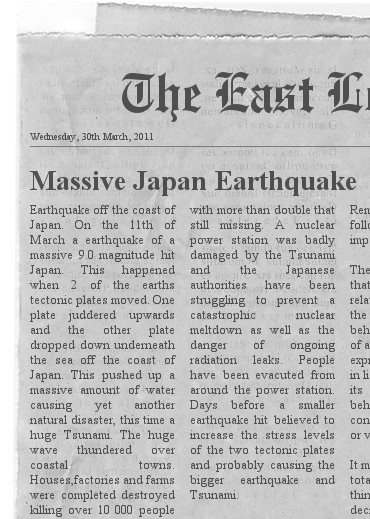 Japan Earthquake by Jed at Primary 6 2010