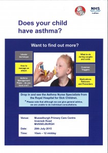 asthma nurse community session musselburgh