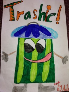 Here is Trashie, our Eco Mascot.  This was the winning design (by Ailsa, now in P5) from our Spring Eco Week.