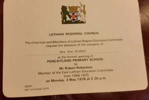 An official invite to the new school opening in 1976.