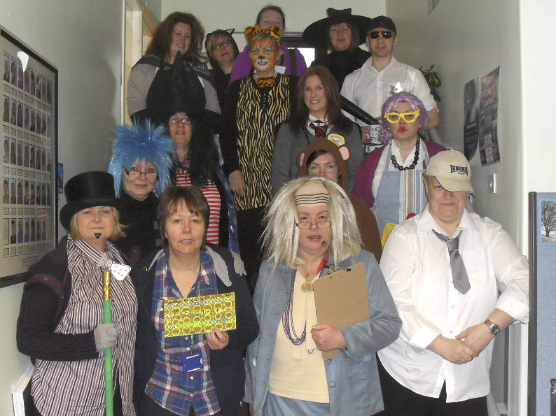 Pinkie St Peter's Primary School teachers dressed as characters from books.