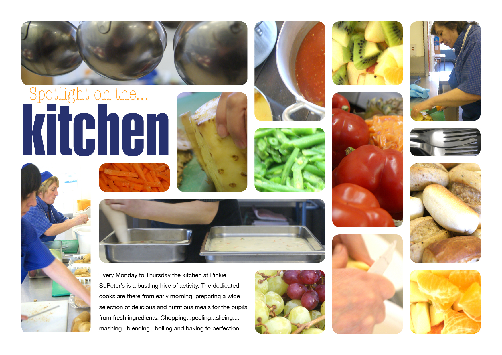 montage of scenes from the school kitchen