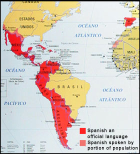 map of 21 spanish speaking countries