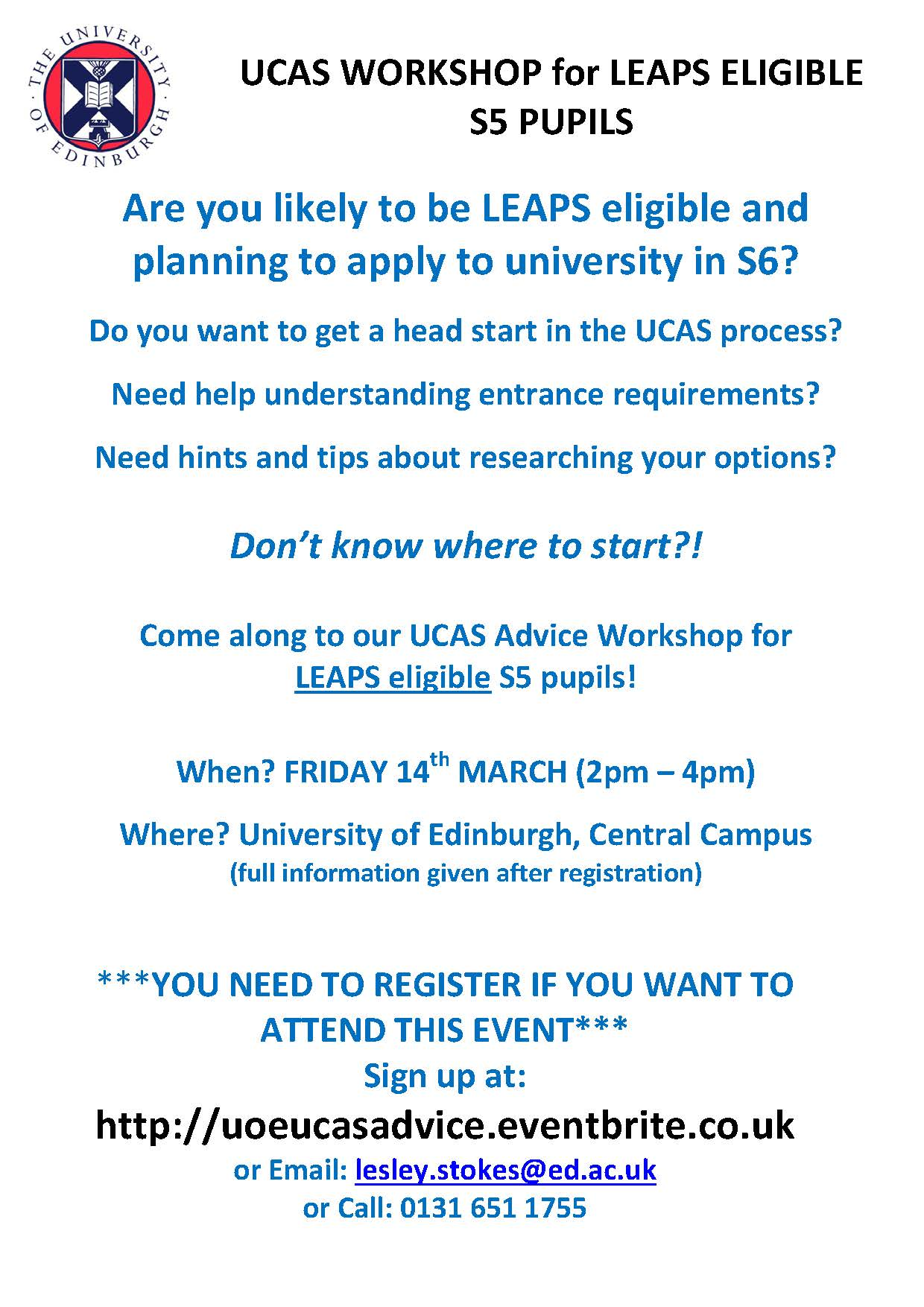 UoE_LEAPS_UCAS_Workshop_Poster_14thMarch2014