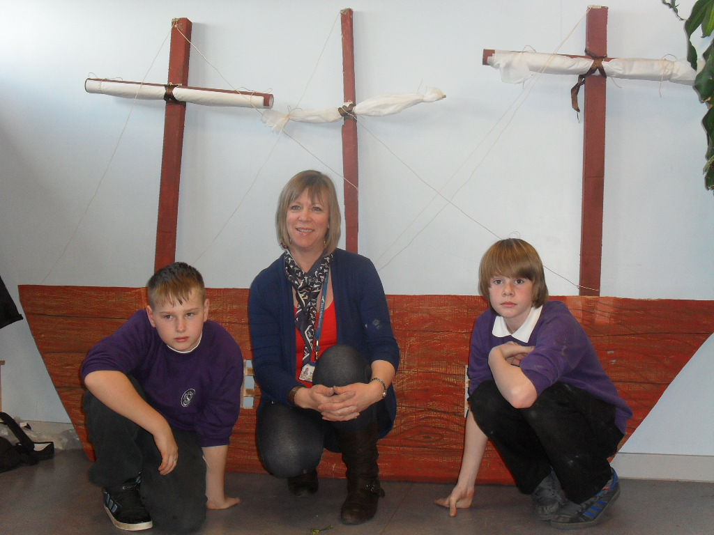 Alex and Jordan worked with Mrs Totten to create our fabulous assembly prop.
