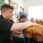 Josh playing the drum