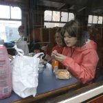 Natasha enjoying lunch on the train