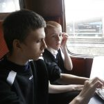 Stephen and Cameron enjoying lunch on the train
