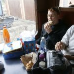 Robbie enjoying lunch on the train