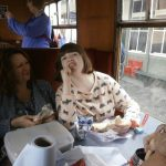 Amina enjoying lunch on the train