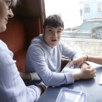 Ben enjoying lunch on the train