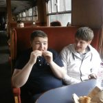 Josh enjoying lunch on the train