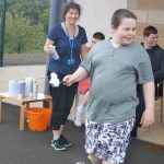 Jamie in the foam and spoon race