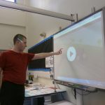 David interacting with the smartboard