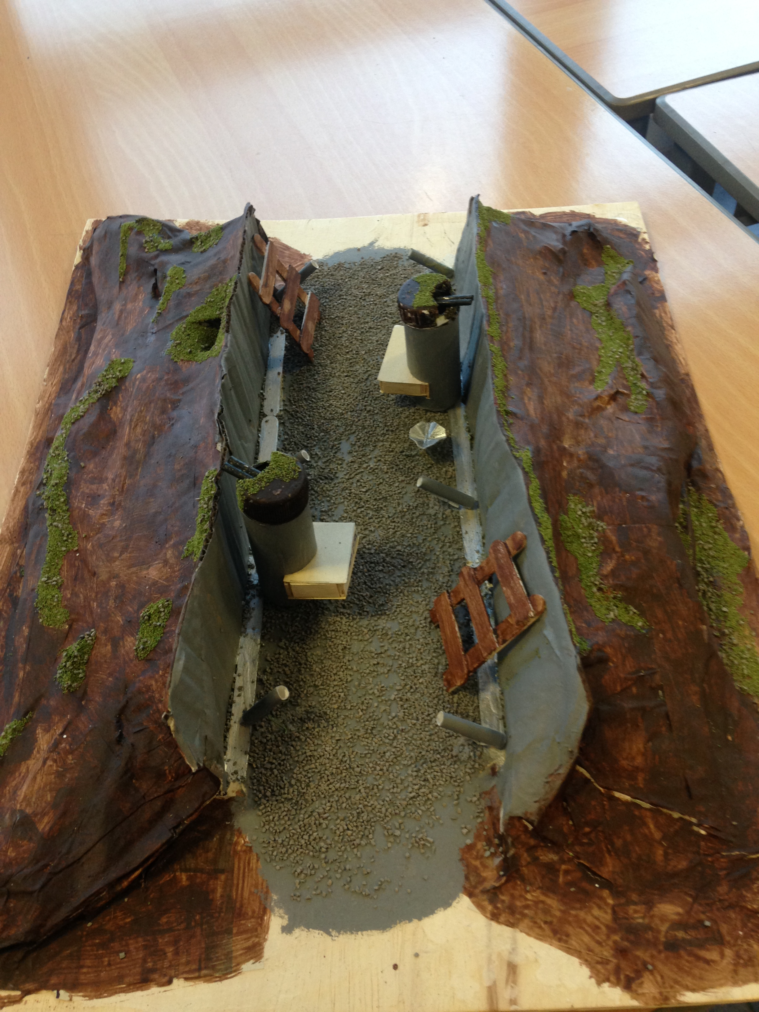 how to make a ww1 trench out of paper mache