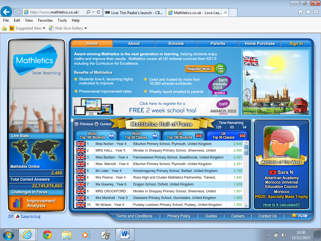 Mathletics World Competitors – P5P | Sanderson\'s Wynd Primary