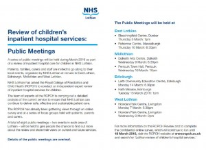 Review of Childrens inpatient hospital services flyer