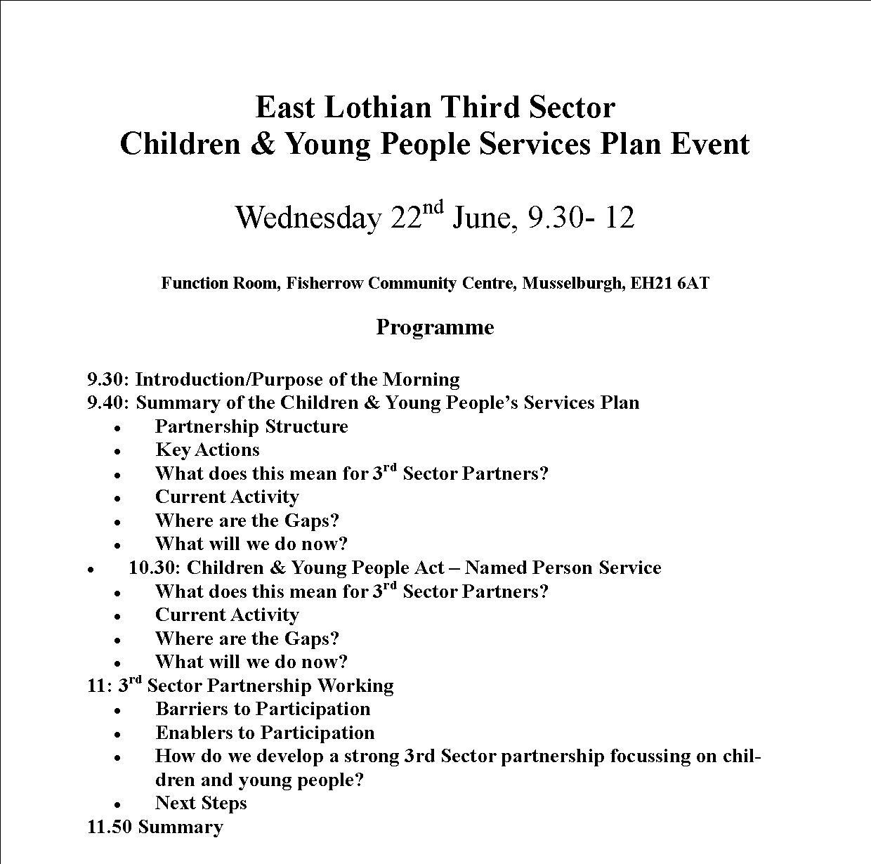 East Lothian Third Sector Children & Young People Services Plan Event