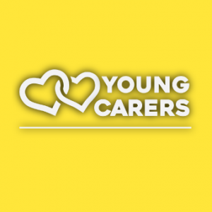 Young Carers text with two hearts logo